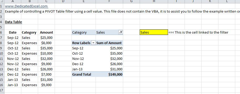 How to control Excel PIVOT tables from a cell value with VBA ...