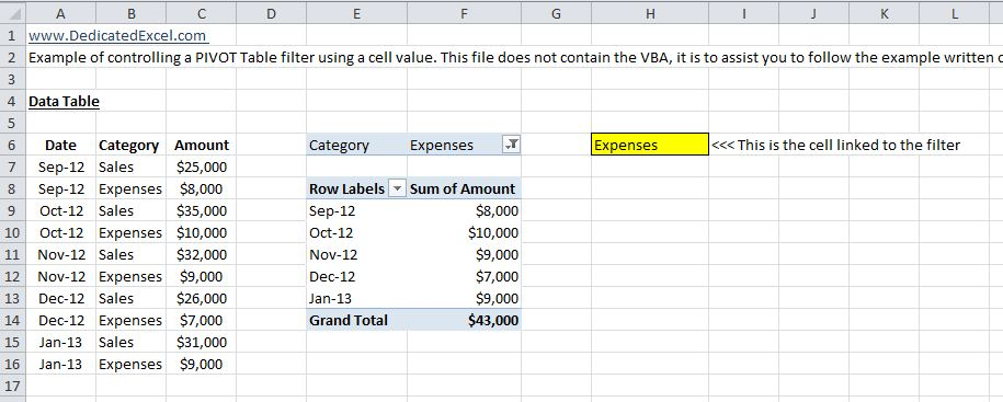 How to control Excel PIVOT tables from a cell value with VBA