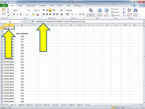 How to Return the Worksheet name in a Cell for Excel 2010 ...