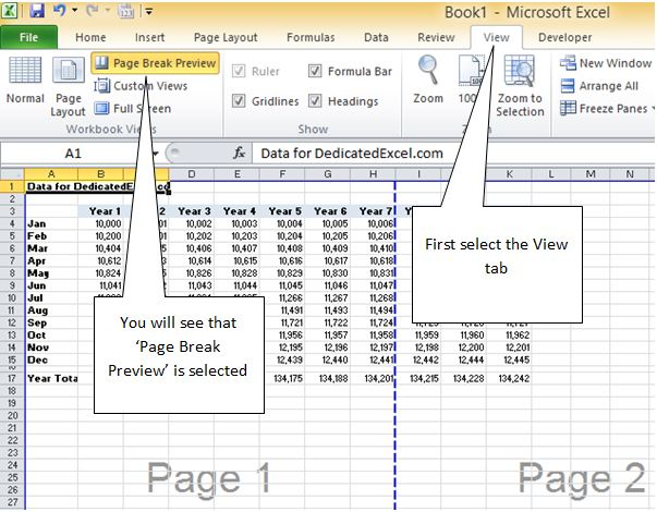 Remove Page Breaks and Page Number Watermark in Excel