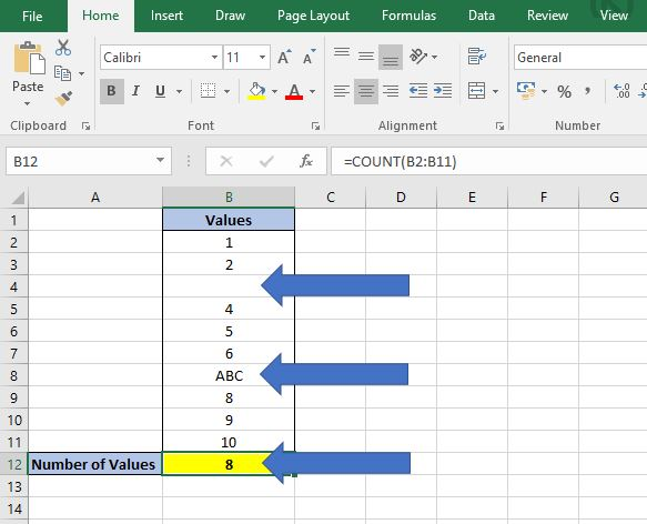 count text excel